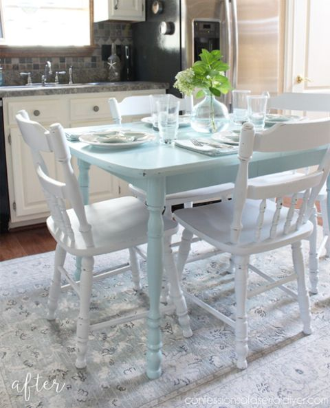 Aqua Kitchen Table Makeover | Painted kitchen tables ...