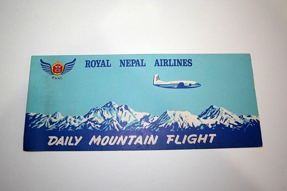 Royal Nepal Airlines Daily Mountain Flight Map Brochure Vtg Air Travel Himalayas