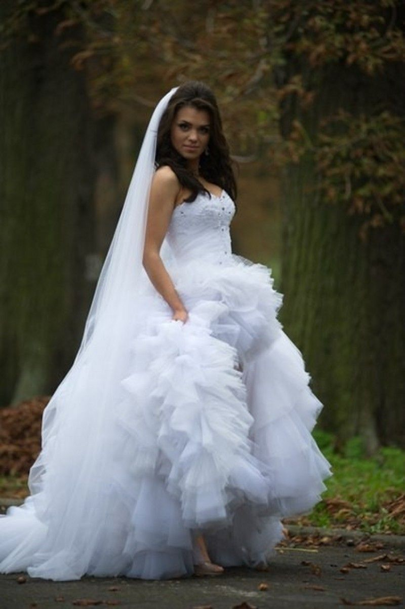 Free shipping buy best wedding dress asymmetrical white and ivory