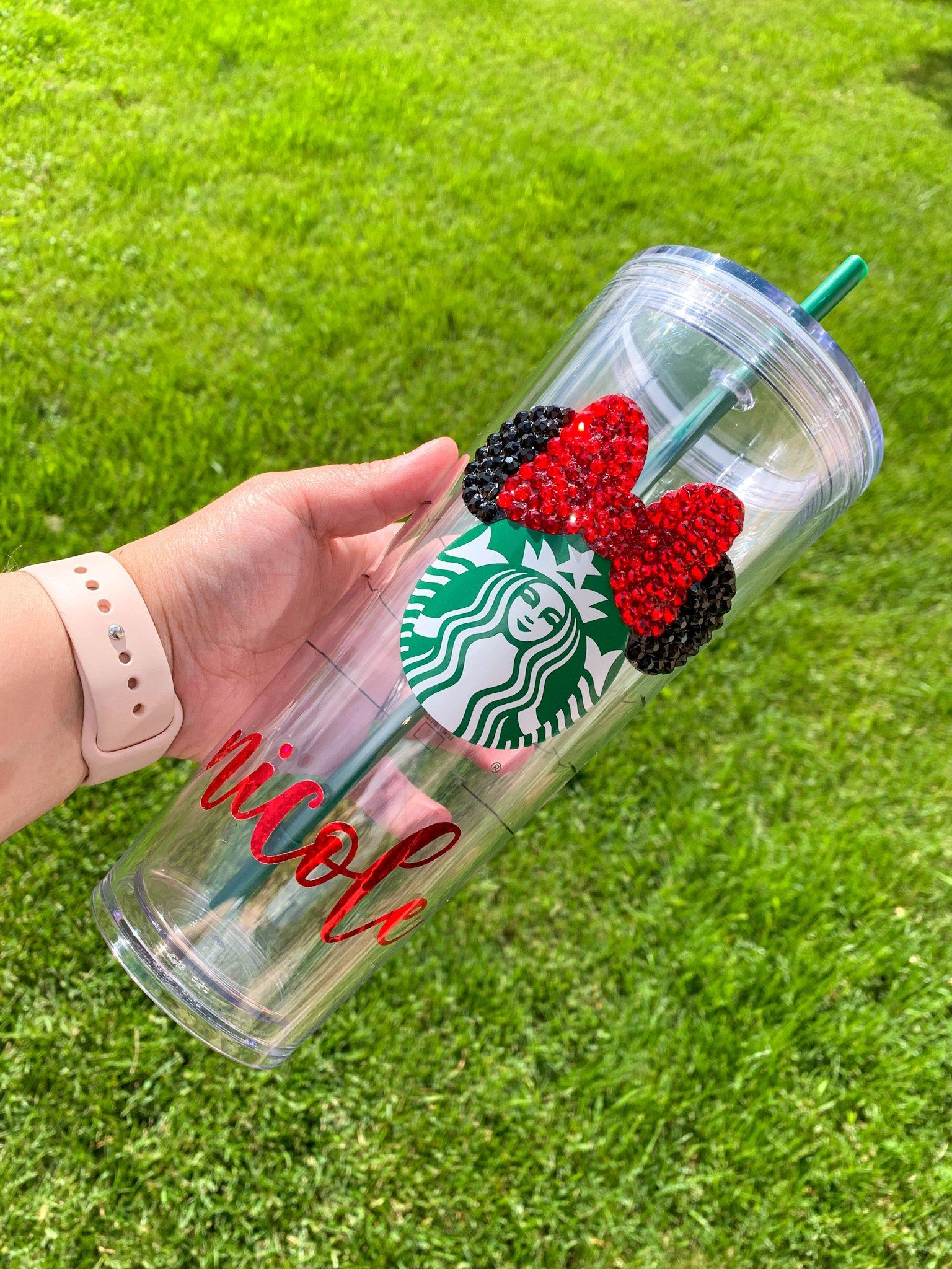 Personalized Minnie Mouse Starbucks Tumbler, Starbucks Cup with Straw, Starbucks Tumbler, Swarovski Crystal Cup, Custom Starbucks Cup
