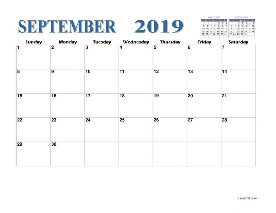 2019 September Calendar Pdf September Calendar September Calendar Printable Calendar Printables