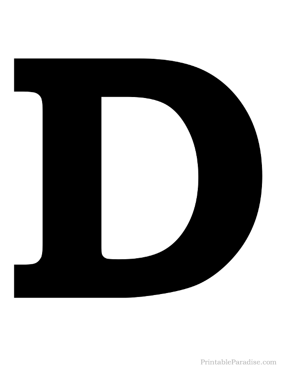 Printable Solid Black Letter D