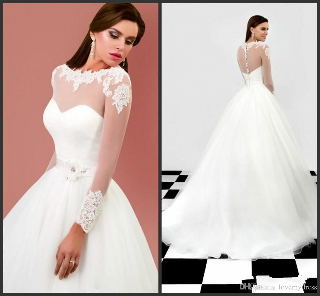 Simple long cheap bridal gown hand made flowers long sleeve iullsion