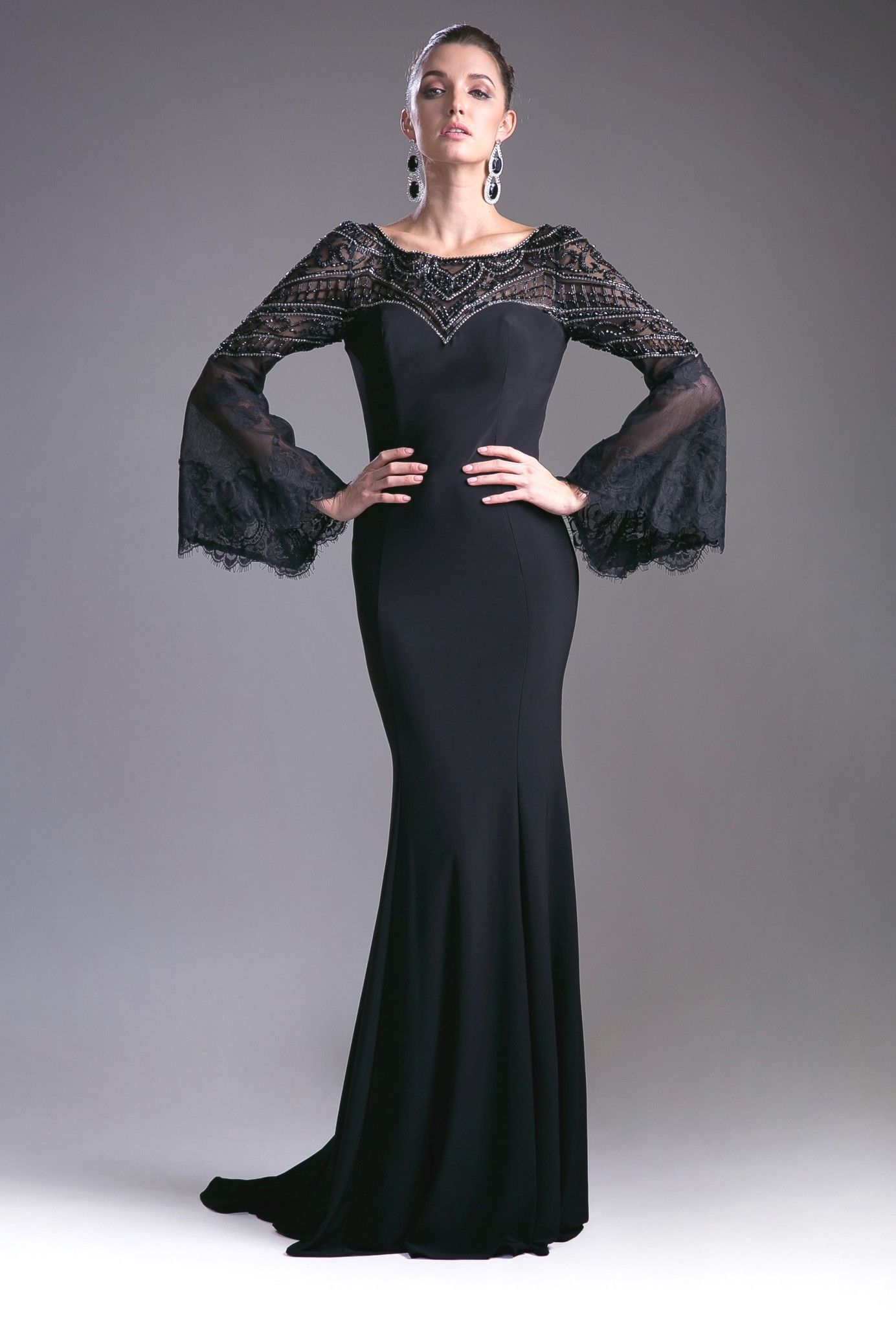 Black bell sleeve dress with beaded top by cinderella divine