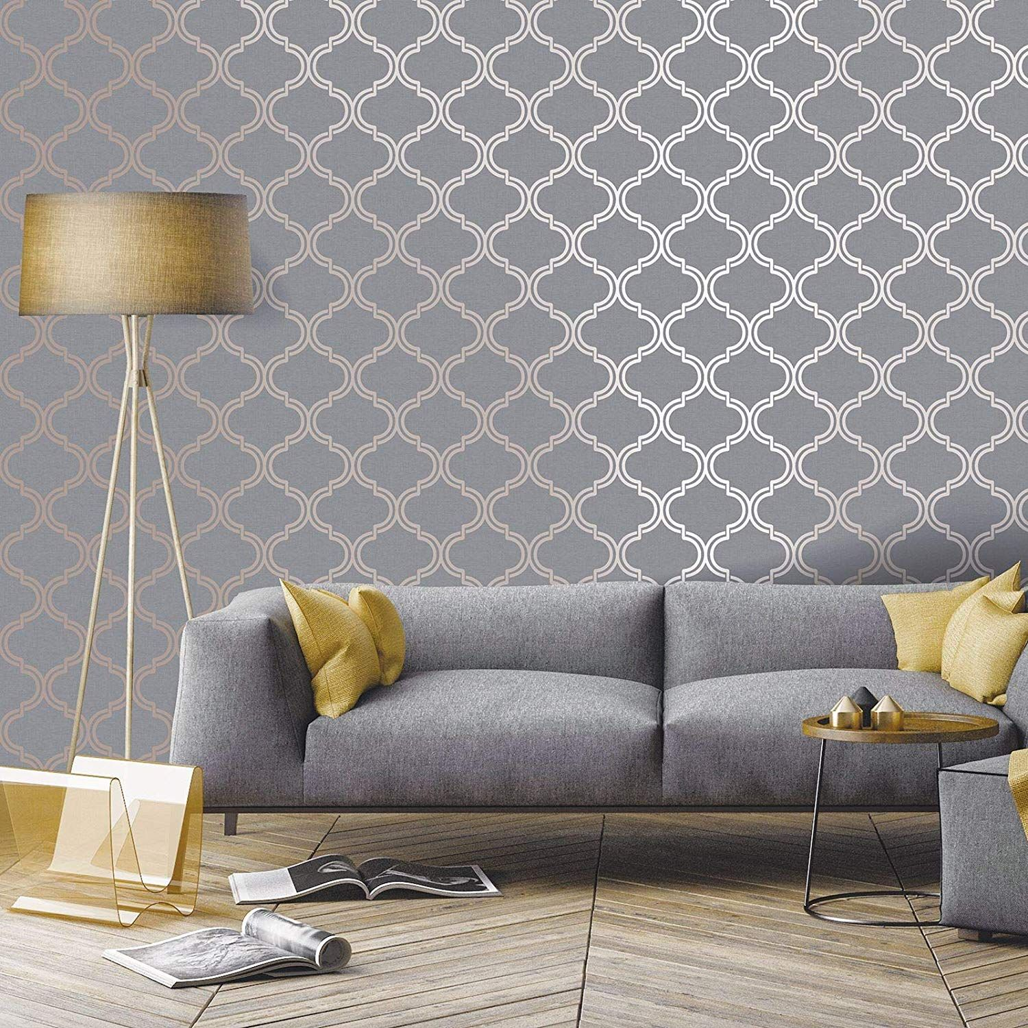 Glistening Geo Trellis Wallpaper Grey Rose Gold Holden 1