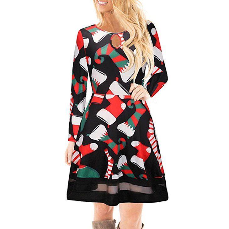 promo code a9eee b7f00 Weihnachtskleid Damen Weihnachtspullover weihnachtsdeko ...