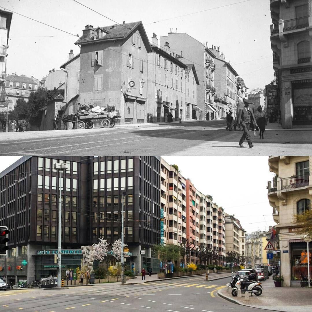 Eaux-Vives 2000, rue de la Terrassière Vers 1925, et 2016 Ancienne photo : BGE, Centre d'iconographie genevoise #eauxvives #geneva #genève #geneve #rephotography