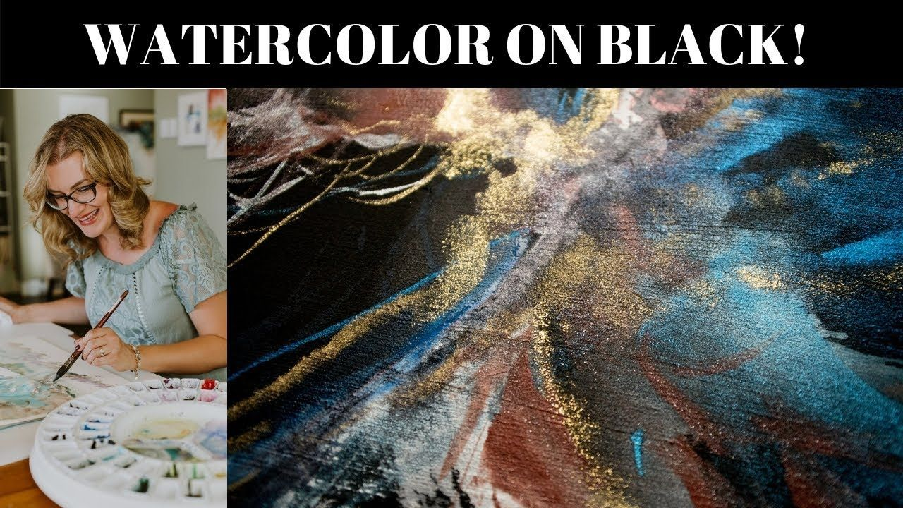Paint An Abstract Watercolor Painting Using Black Watercolor