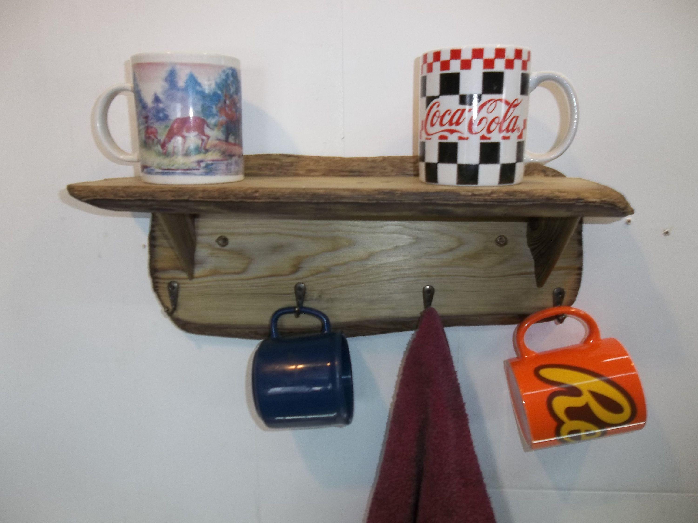 Driftwood Wall Shelf With Coat And Hat Hooks Bathroom Shelf Etsy Shelves Wall Shelves Nautical Shelves