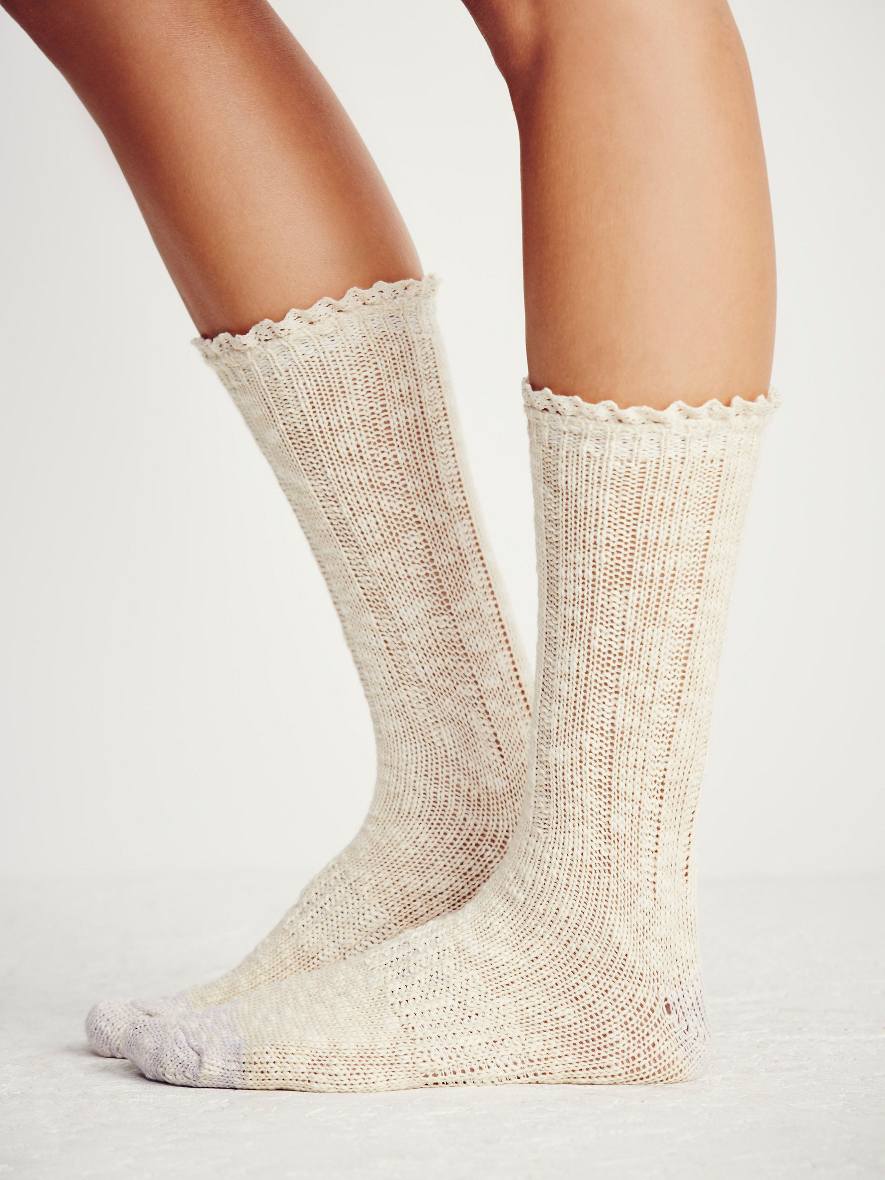 Melbourne Heathered Crew Socks | Tomboy meets femme with these thick heathered crew socks that hit at the mid-calf. A pretty and subtle ruffled detail decorates the top hem. Colored accents at heel and toe.