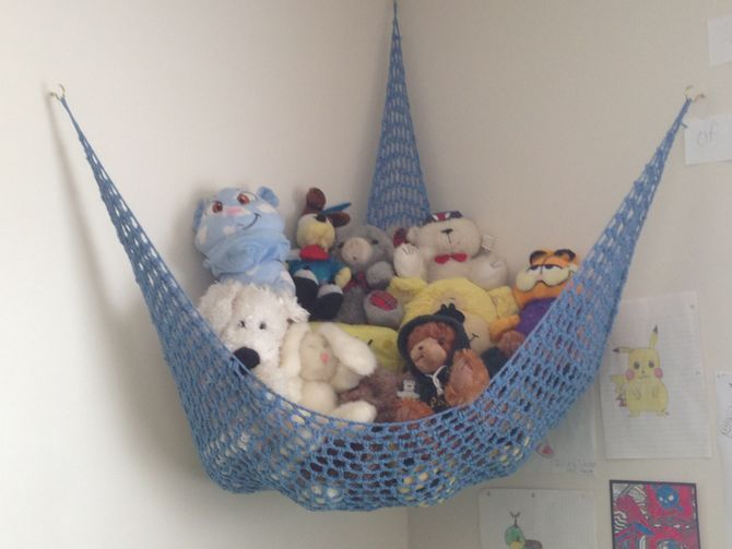 how to crochet a toy storage hammock  this toy storage hammock hangs in the corner of a room  it u0027s a great way to corral stuffed animals and keep them     crochet a toy storage hammock   toy storage storage and crochet  rh   pinterest