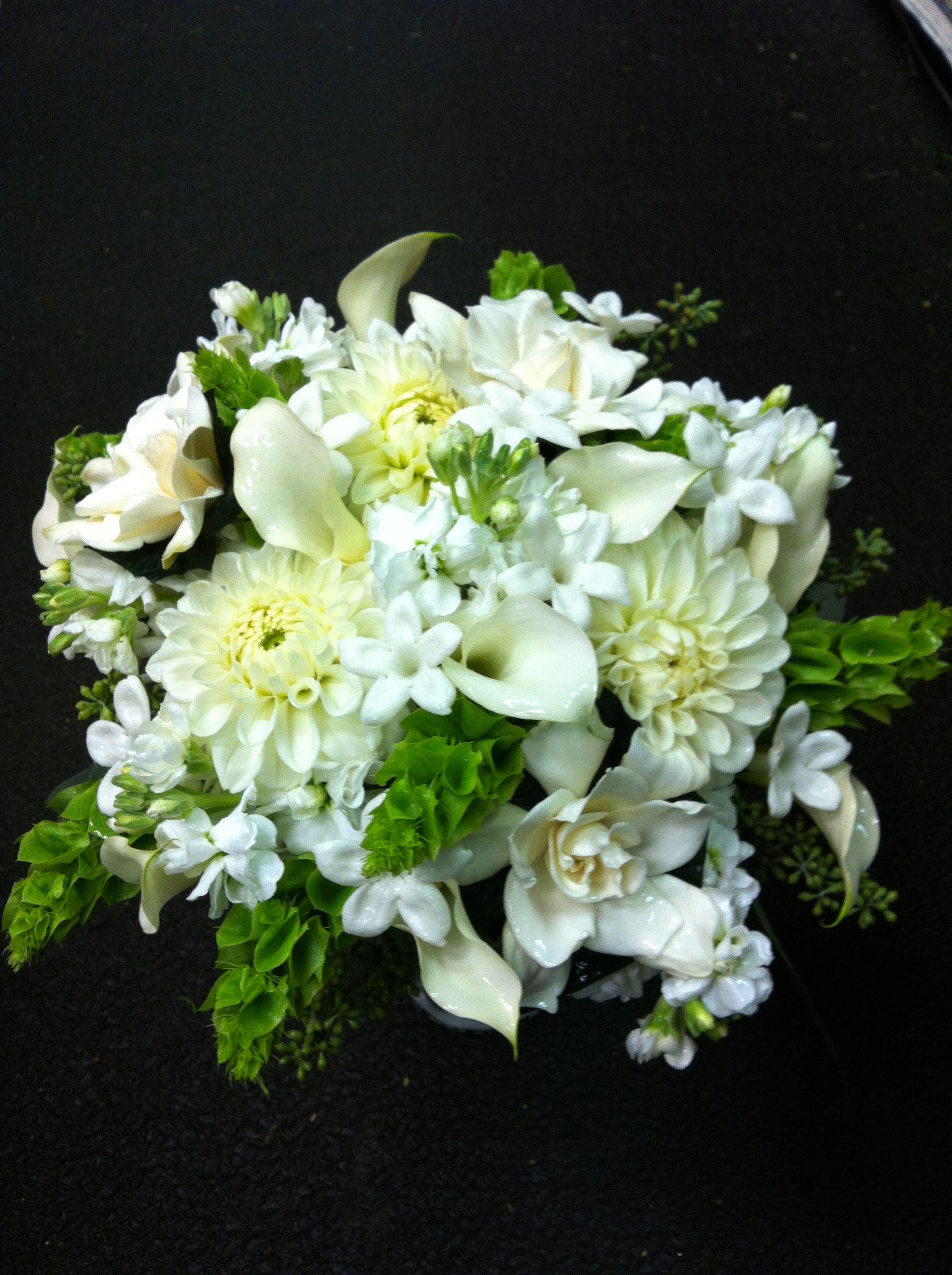 Bridal Bouquet With Stephanotis Bells Of Ireland Gardenias Dalias Stock Etc Pauline S Bloomers Wedding Flowers Irish Wedding Wedding Flower Packages