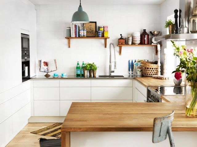 Houten keukenblad goeie combo met betonnen vloer kitchen and