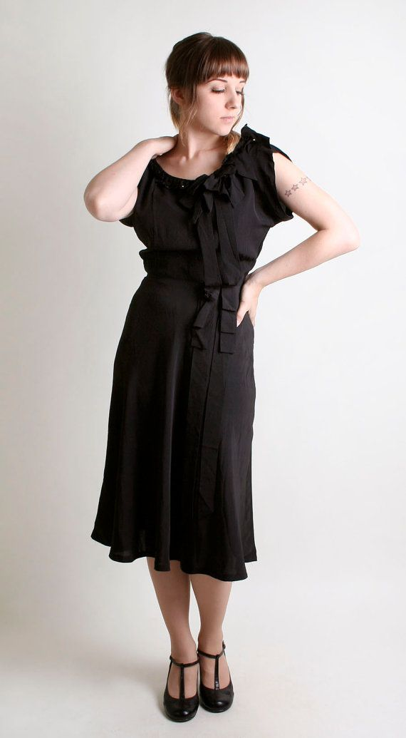 Vintage 1940s Dress  Little Black Dress LBD by Paul Sachs by zwzzy, $120.00