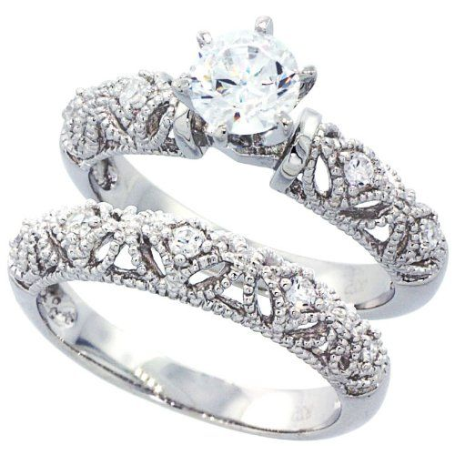 White Gold Rhodium Plated Sterling Silver Wedding Engagement Ring Vintage Style Set For Women Size 6 To By Double Accent At The T
