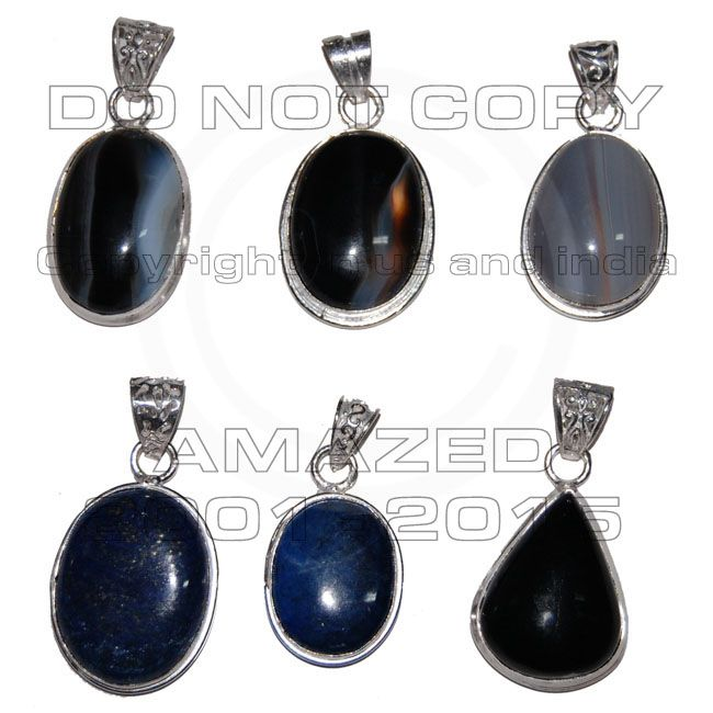 Sterling Silver Certified Handmade Best Quality Silver wholesale pendant clearance lots.with Black onyx, Sodalite, Lepis, Jasper and other stone agate, jasper.Given weight is approx.
