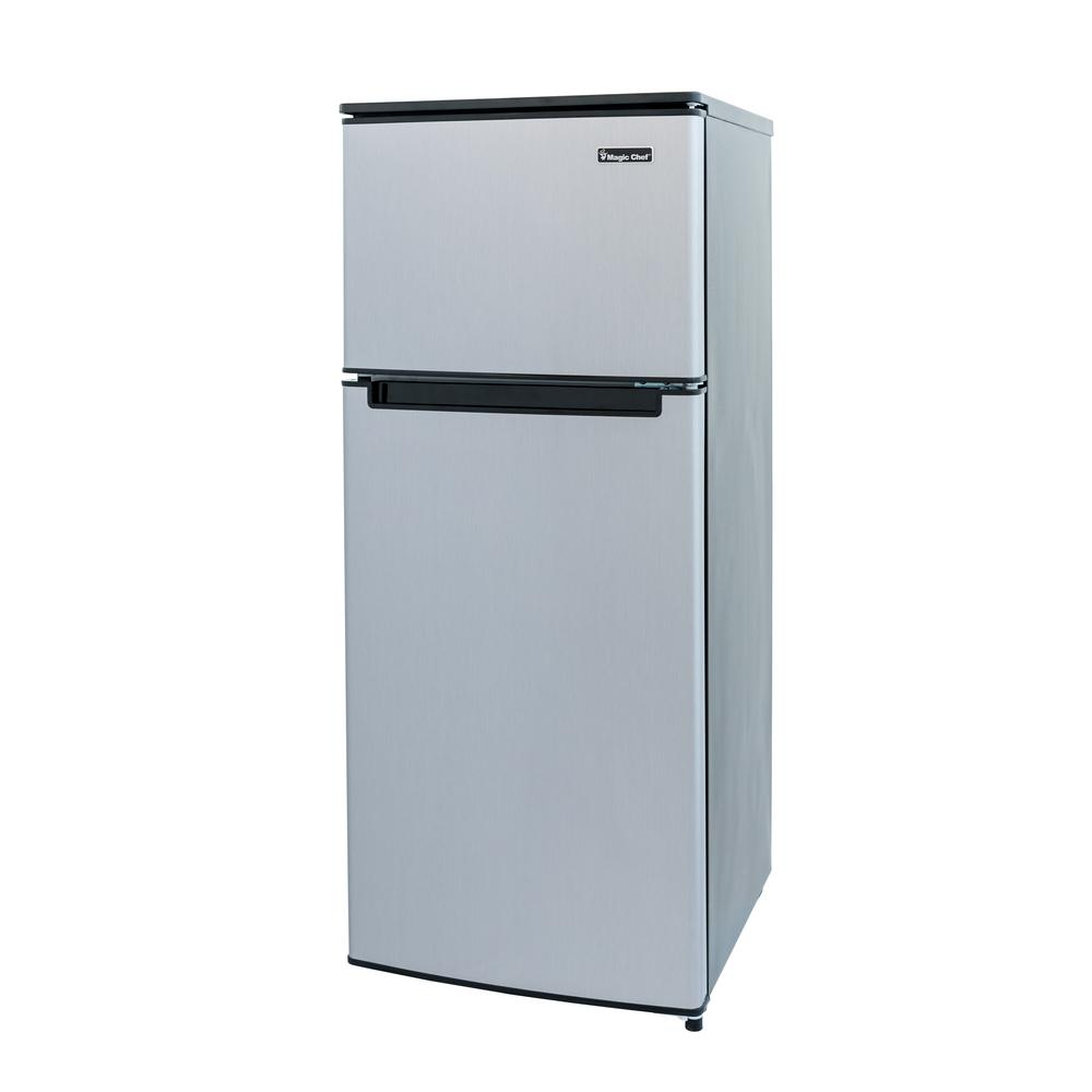 Magic Chef 4 5 Cu Ft 2 Door Mini Fridge In Stainless Look With Freezer Hmdr450se The Home Depot In 2020 Mini Fridge Refrigerator Small Refrigerator