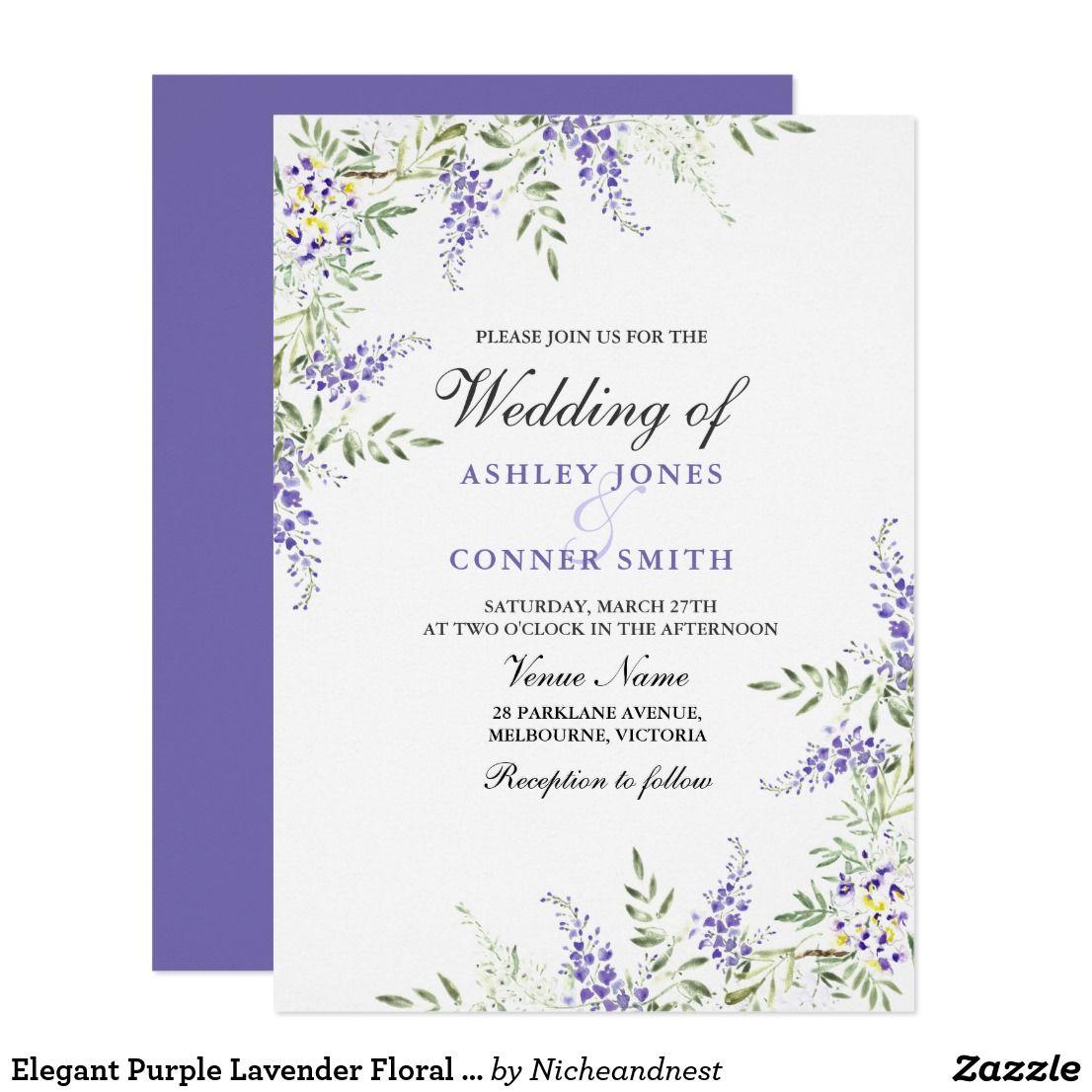 Elegant Purple Lavender Floral Wedding Invite | Wedding, Floral ...