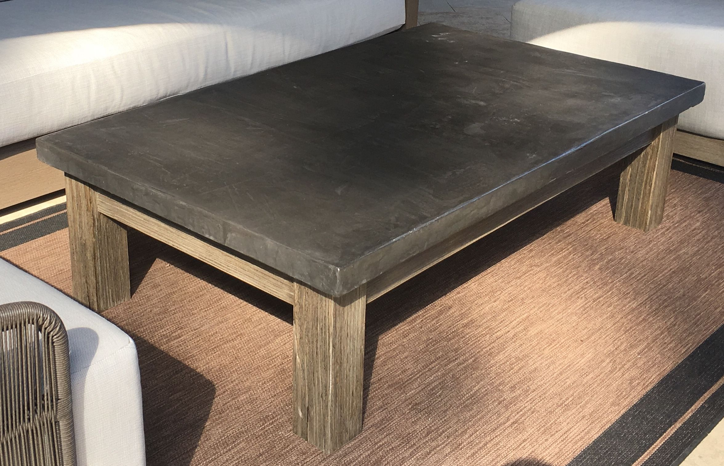 DIY Concrete Top Patio Coffee Table With Distressed Redwood Base - Rh concrete table