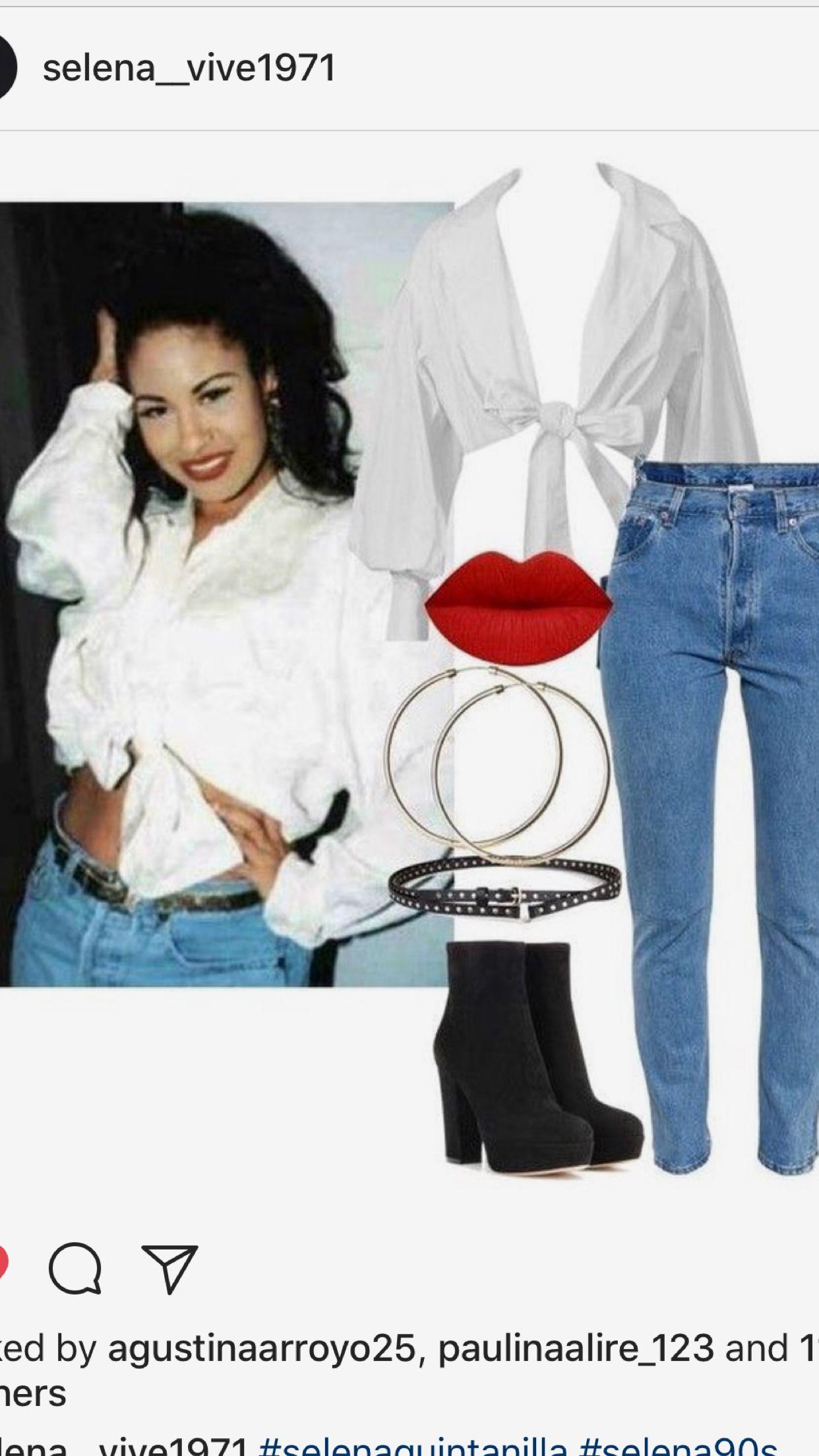 45db10eb6fe Get the look. Selena Quintanilla white blouse