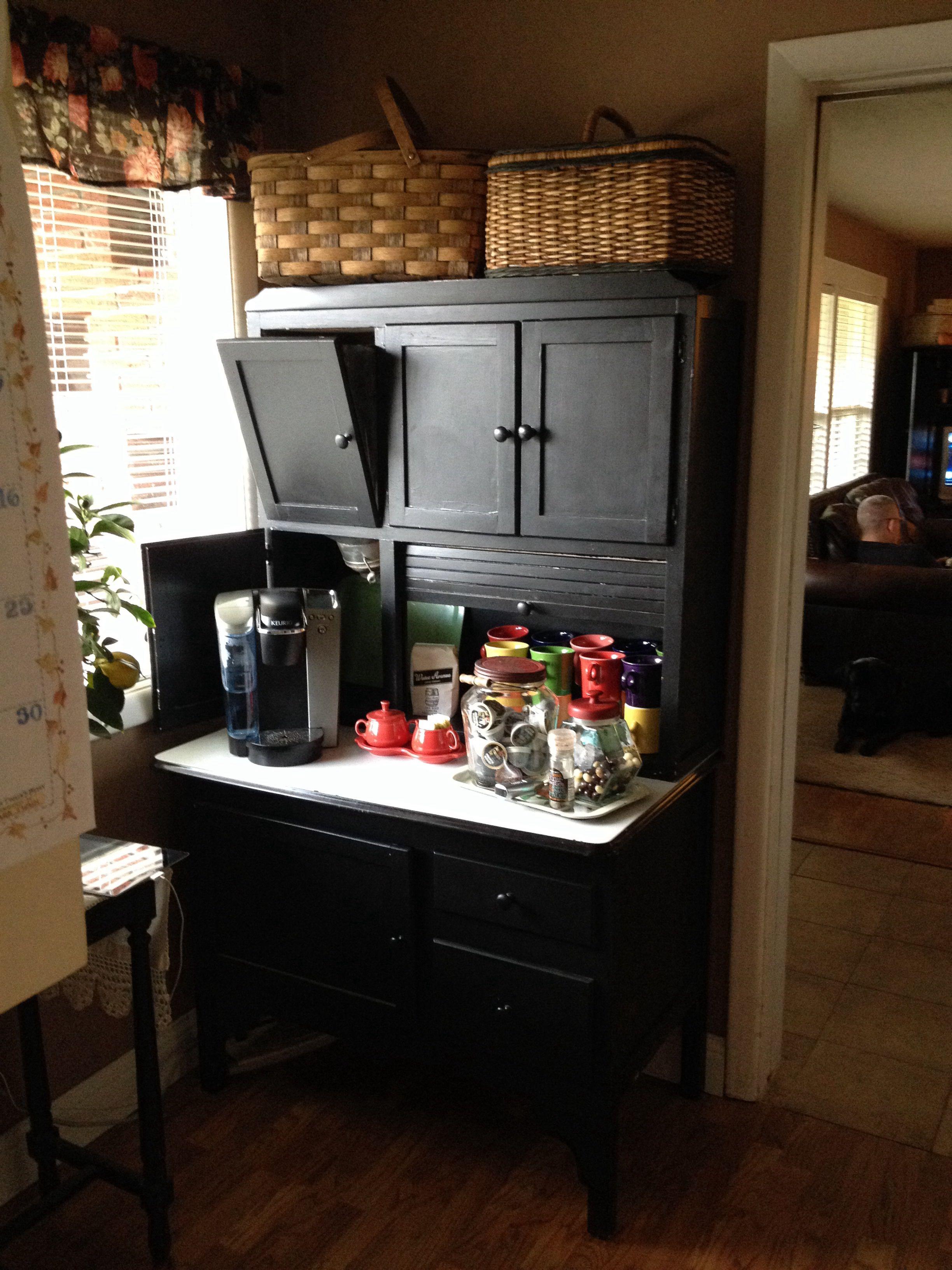 Coffee station love my Hoosier   Black Coffee  Coffe