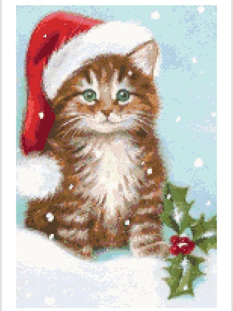 Kitten Christmas Cards.Kitty Christmas Cross Stitch Pattern By Redfishy On Etsy