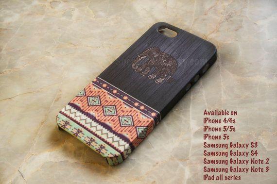 Aztec Elephant Wood Geometric Tribal iPhone Case by SoCoolCase, $20.00