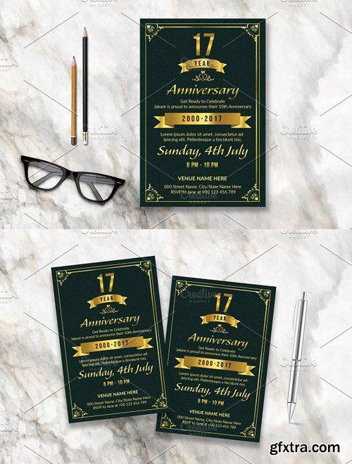 CM - Anniversary Invitation Template-V586 1648606 GFXTRA Pinterest - anniversary invitation template
