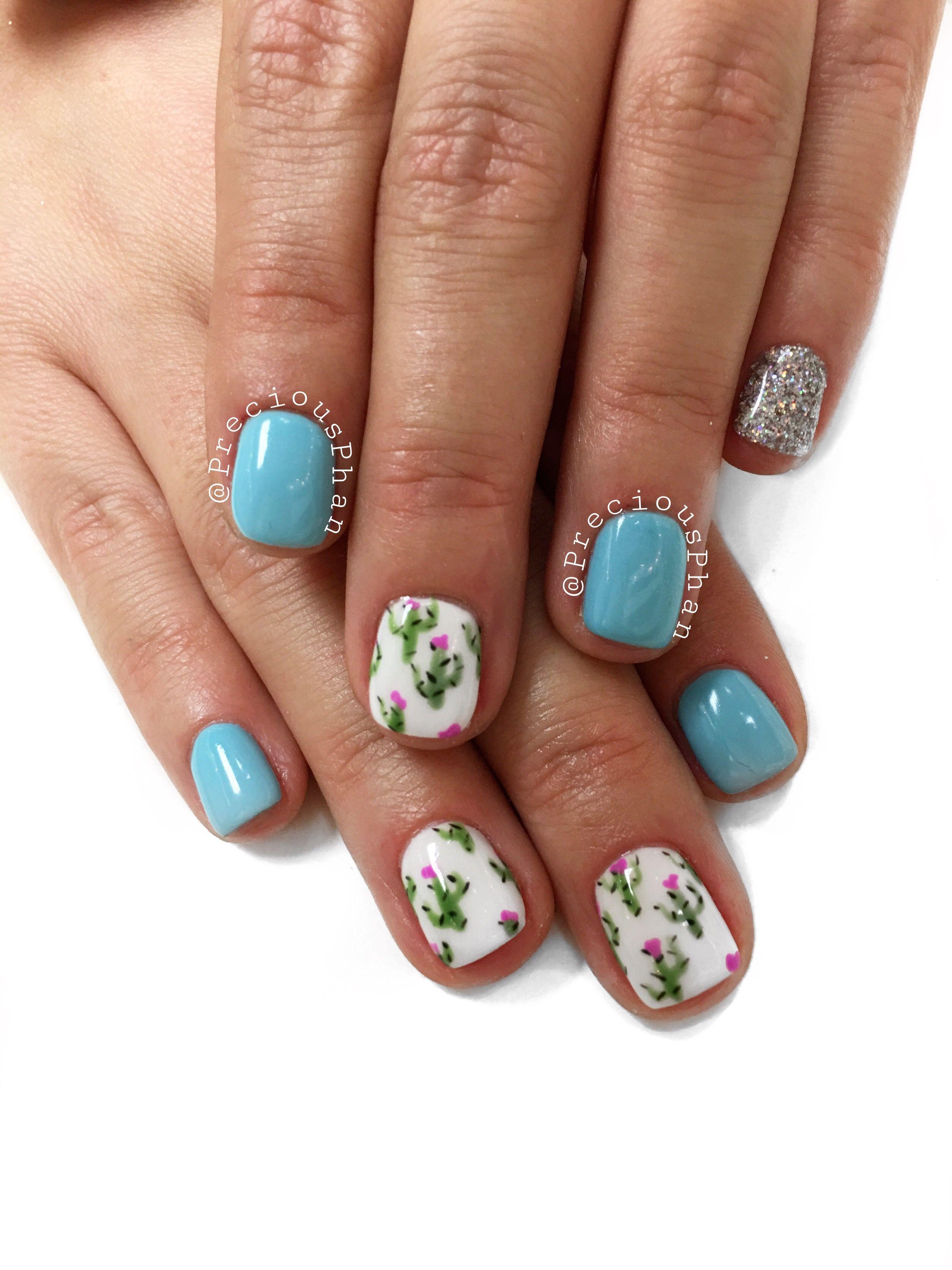 Cactus nails. Sky blue. Desert nails. Phoenix Arizona. Born and ...