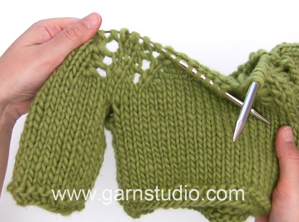 Drops Knitting Tutorial How To Work Raglan With Lace Pattern