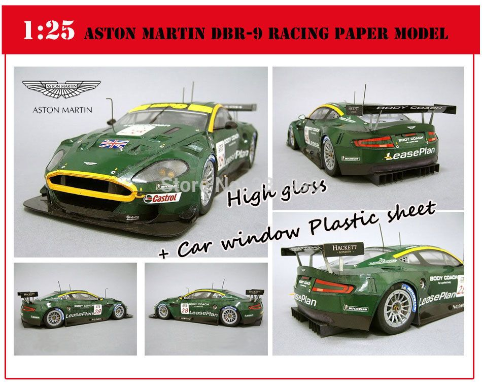 Scale 1:25 Aston Martin DBR 9 Racing Car 3D Paper Models + Car