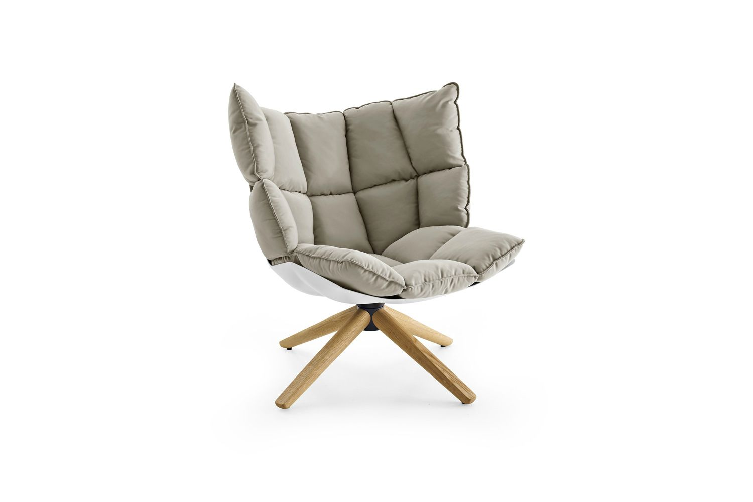 Husk Swivel Armchair With Snug Sides In Light Fabric From Space Furniture Fabric Armchairs Armchair Patricia Urquiola
