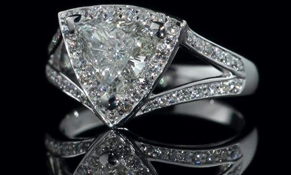 Engagement Ring - Trillion Diamond Halo Engagement