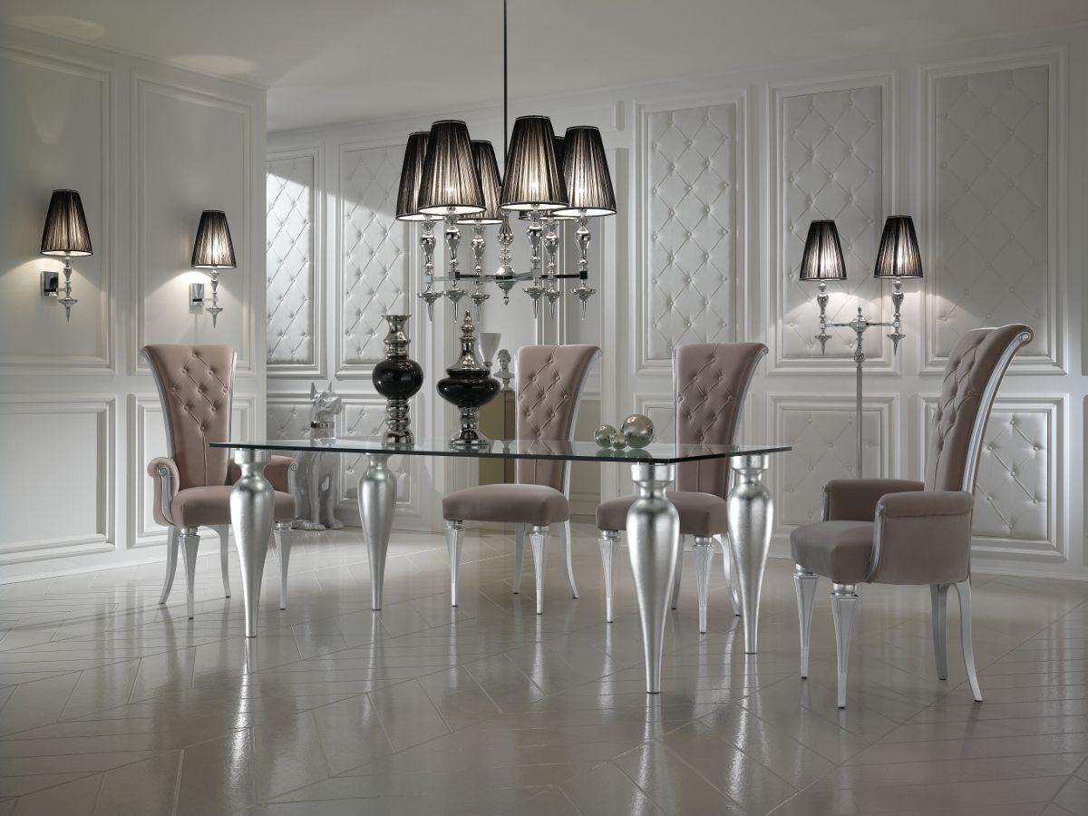 High End Italian Designer Glass Rectangular Dining Table Set ...