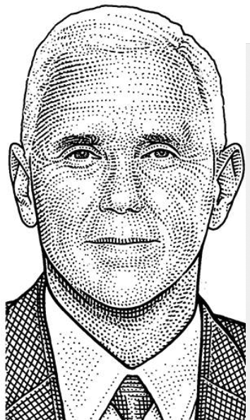 Hedcut Of Mike Pence Portrait Illustration Stippling Woodcut