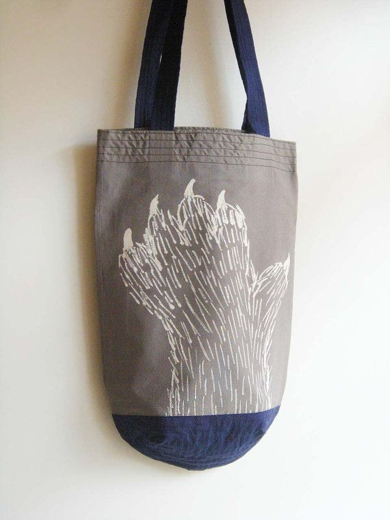 cotton tote / hairy creature / scary hand by UTTOKO on Etsy, ¥4500 Approximately $58.11