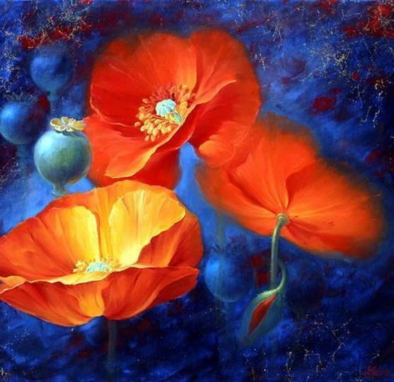 blue orange art photography pinterest blue orange painting inspiration and flower art. Black Bedroom Furniture Sets. Home Design Ideas