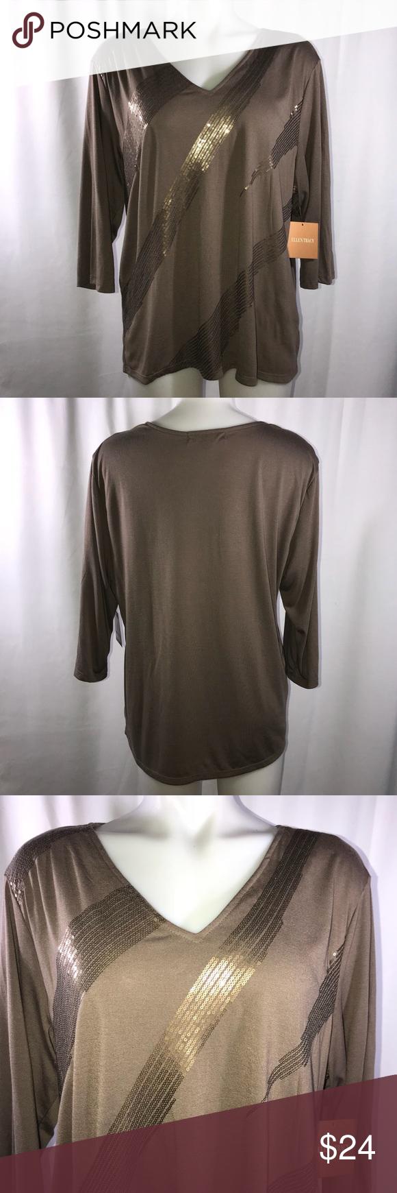 Ellen Tracy Sequin Blouse (Q) V-neck Sparkly sequin Taupe color. Brand