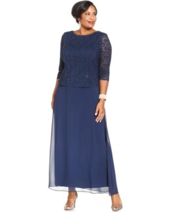 d057997f0c Alex Evenings Plus Size Sequined Lace Gown - Blue 18W