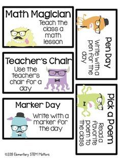 40 Ready-to-Use Classroom Reward Coupons... Hipster Monster Themed ...