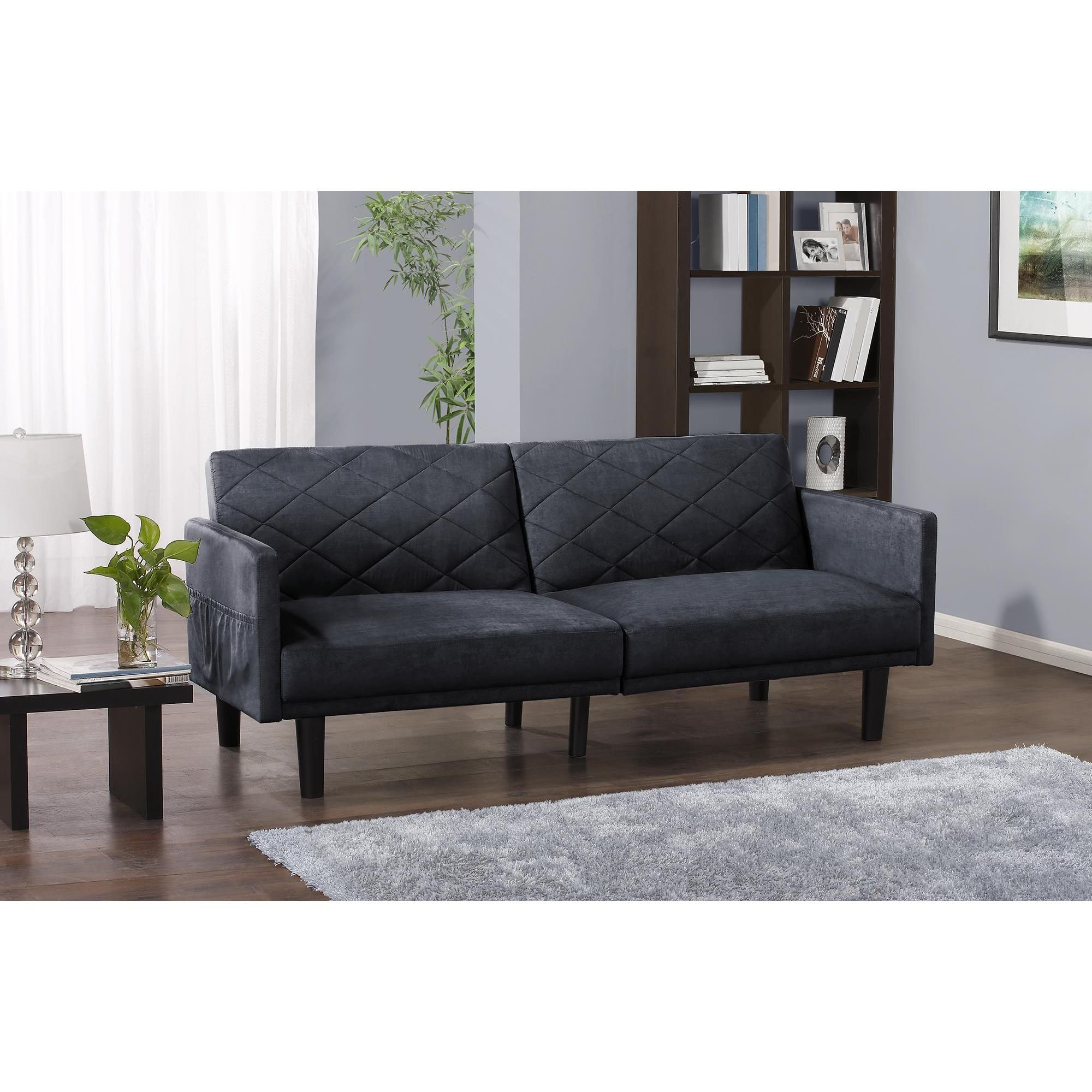 The Cortland Microfiber Futon from DHP with its clean and classic lines offers enduring comfort, while it's spacious as it is sleek. The low back cushions and deep seats offer laid-back coziness in family rooms, living rooms and guest rooms.