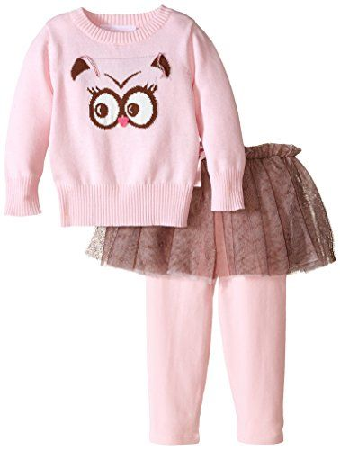 65f5ed29c Bonnie Baby BabyGirls Infant Owl Intarsia Sweater Legging and Skirt Set  Pink 24 Months