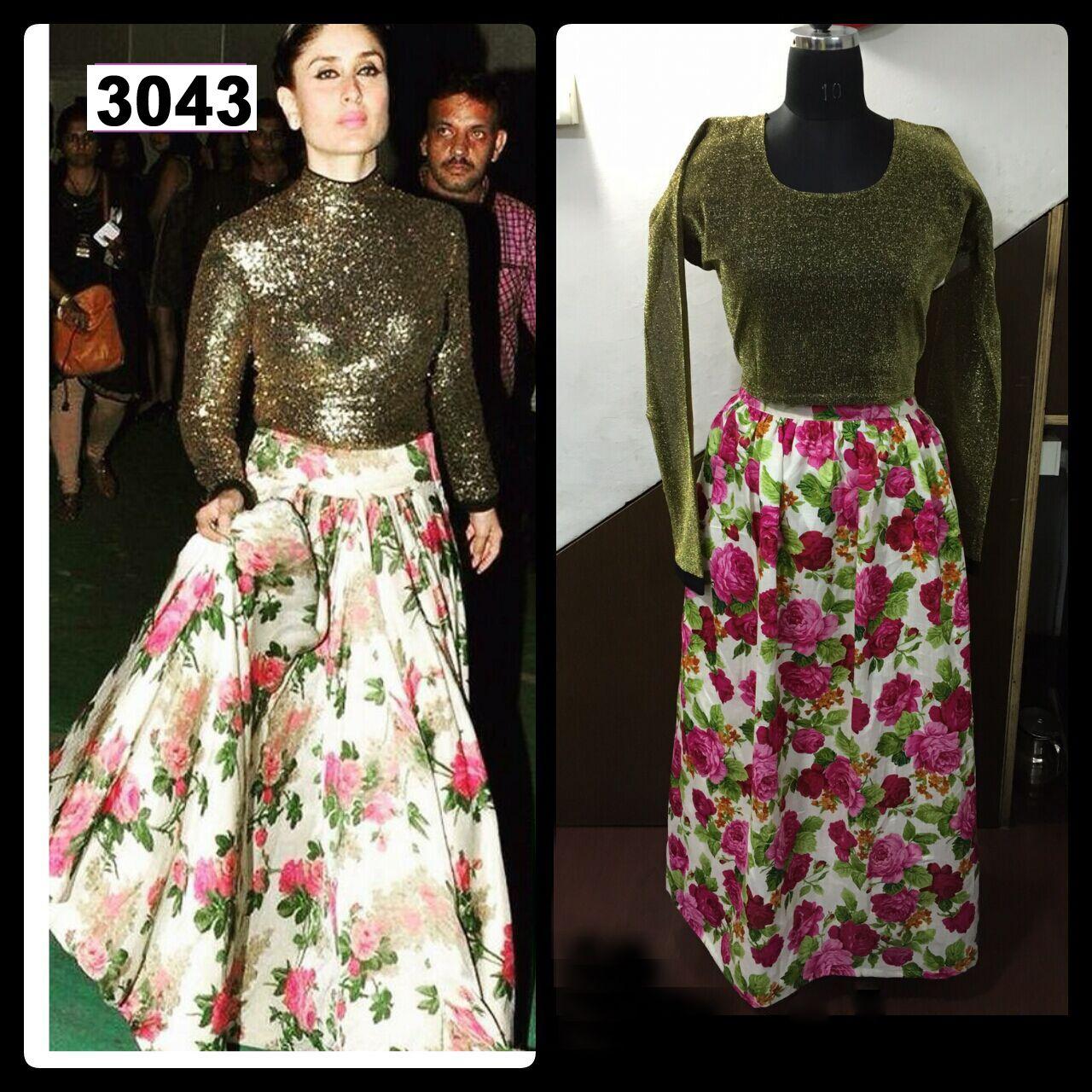 5ebe3e214e Anjali Enterprise Kareena Kapoor Party Wear Floral Print Lehenga  #Kareenakapoor #Golden Floral #Lehenga