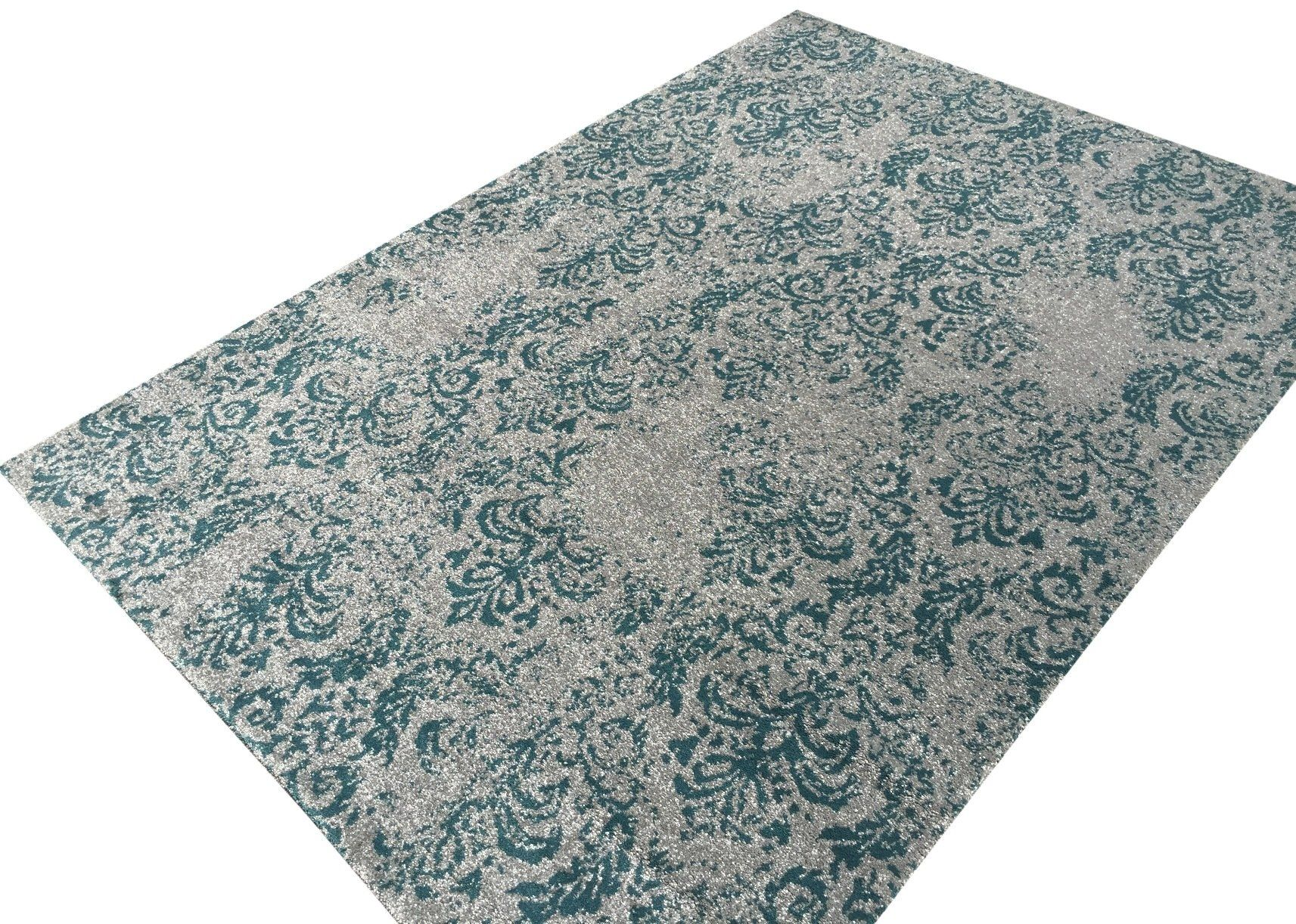 """Amazon.com - Vintage Floral Trellis 8'3"""" x 9'10"""" (99 inch by 118 inch) Teal-Blue Grey Area Rug Zahra Collection Luxury Frieze Pile -"""