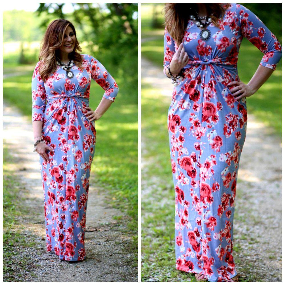 Summer boho rose printed long maxi dress vneck sleeve bodycon