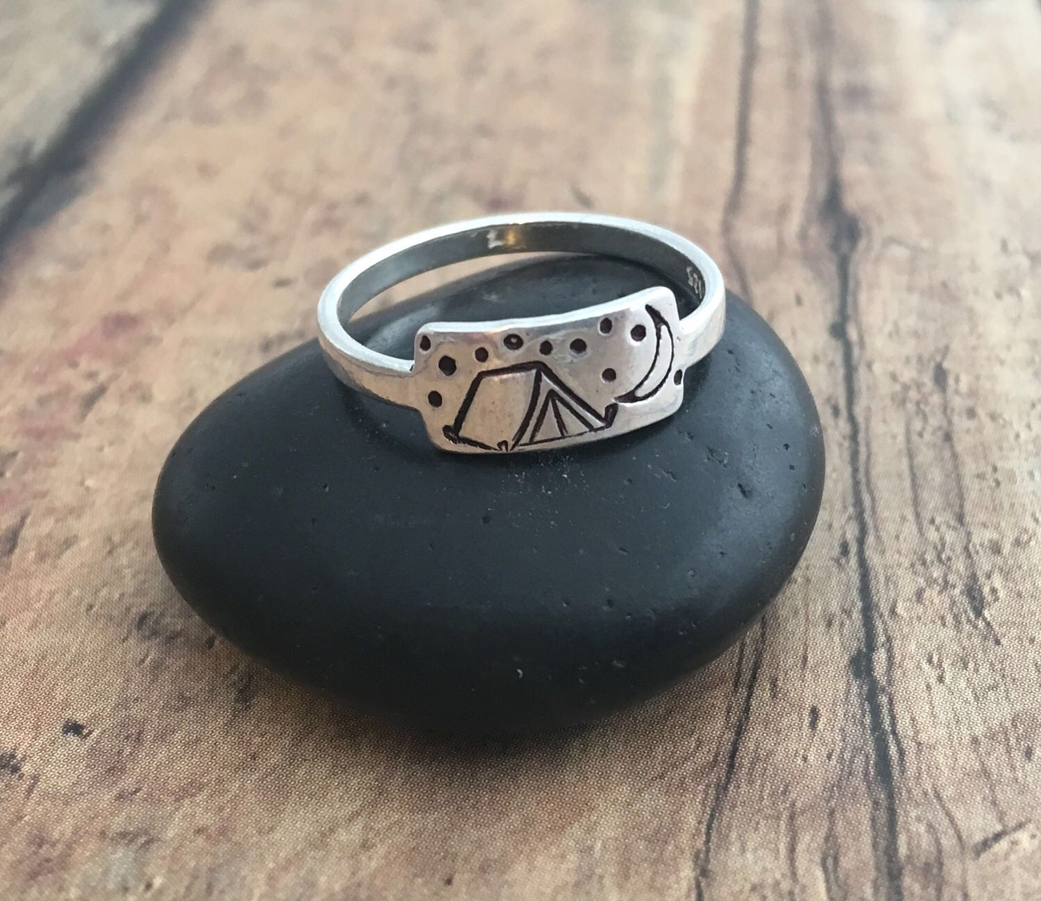 C&ing Ring Hand St&ed Sterling Silver Tent Moon and Stars C&ing Ring & Camping Ring Hand Stamped Tent Crescent Moon and Stars ...