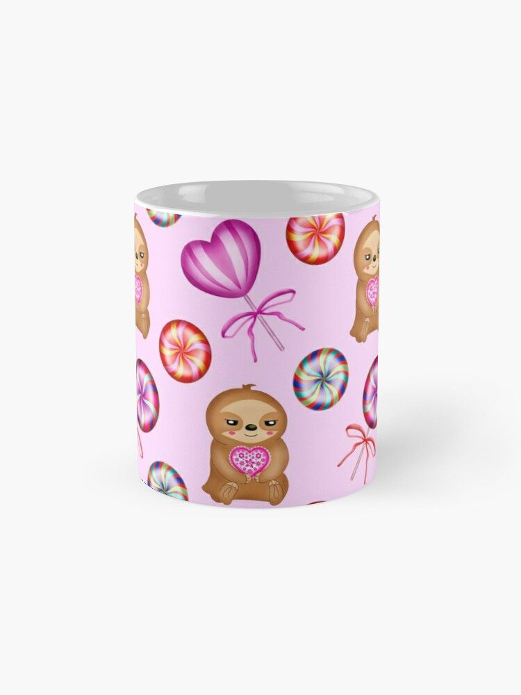 'Funny happy little pink baby sloths holding pink hearts. Sweet vintage retro lollipops. Cute girly baby pink winter pattern design. Gift ideas for sloth and candy lovers. Nursery decor.' Mug by MerveilleDesign #hellodecember
