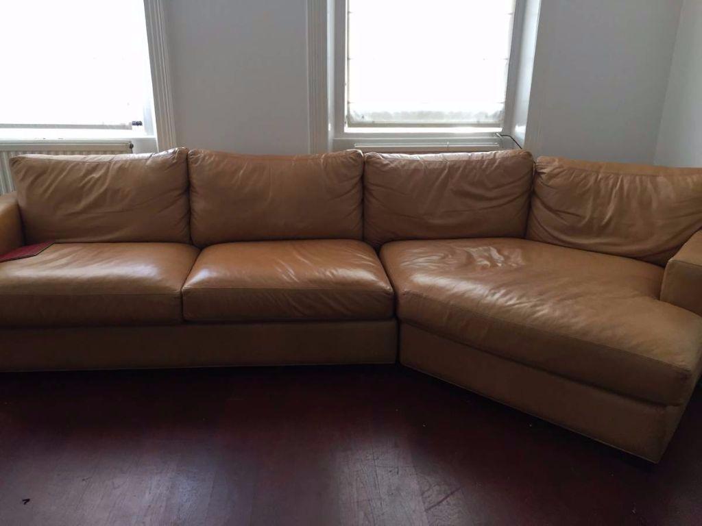 Designer Light Brown Leather Semi L Shaped Sofa Sofa L Shaped Sofa Used Sofas For Sale