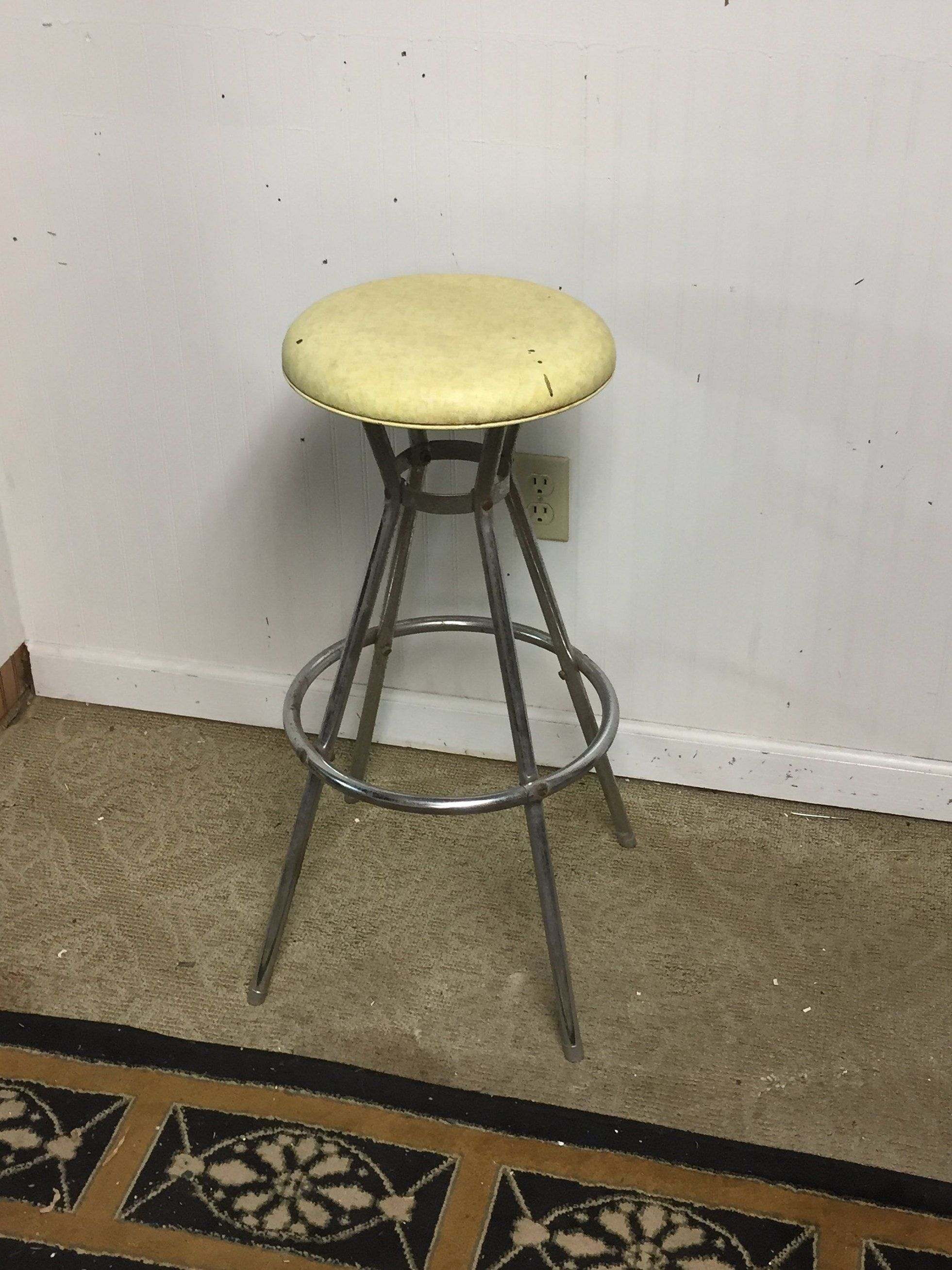 Fantastic Vintage Mid Century Cosco Chrome Kitchen Stool With Yellow Gmtry Best Dining Table And Chair Ideas Images Gmtryco