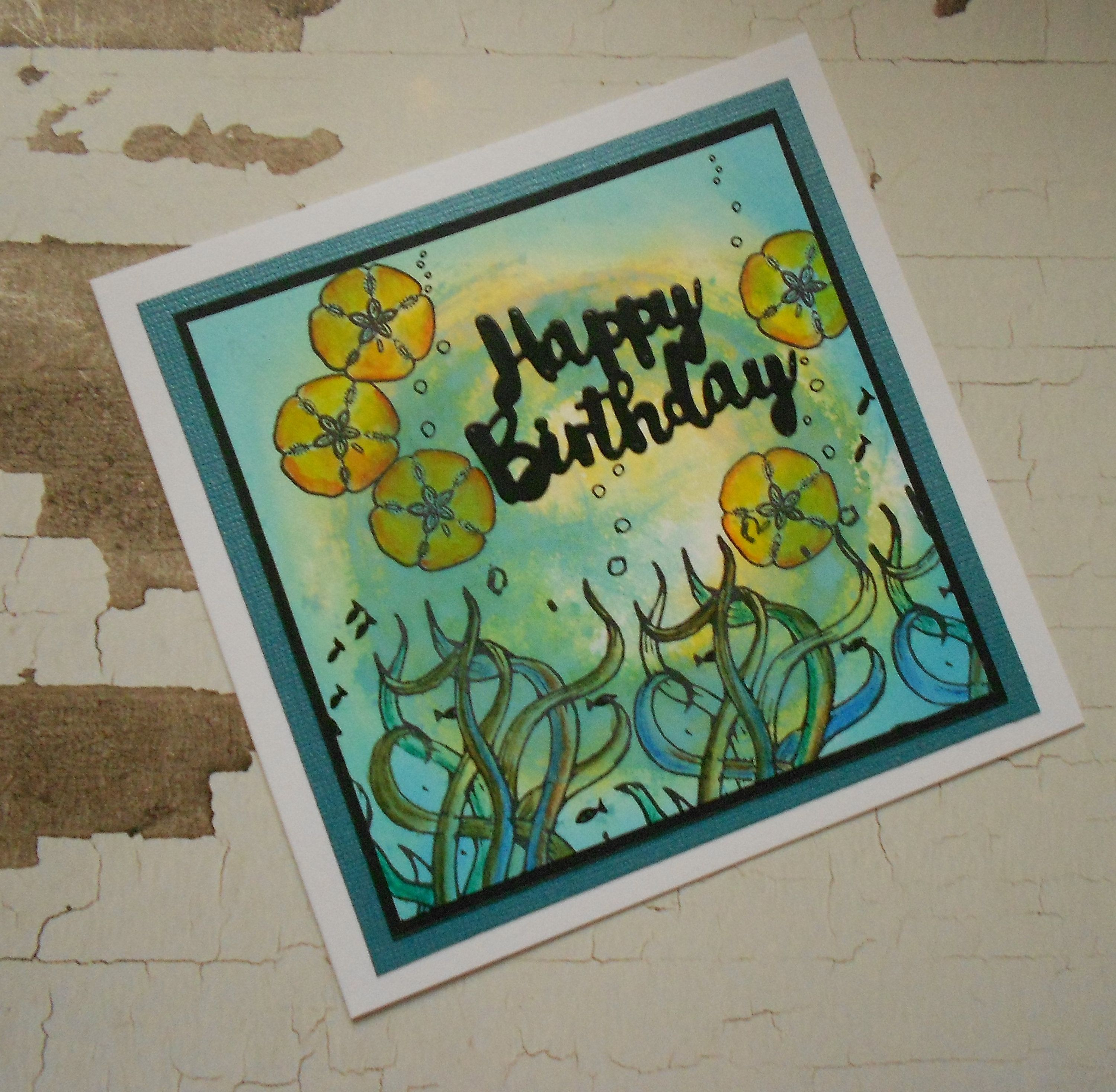 Under the sea hand made birthday greeting card